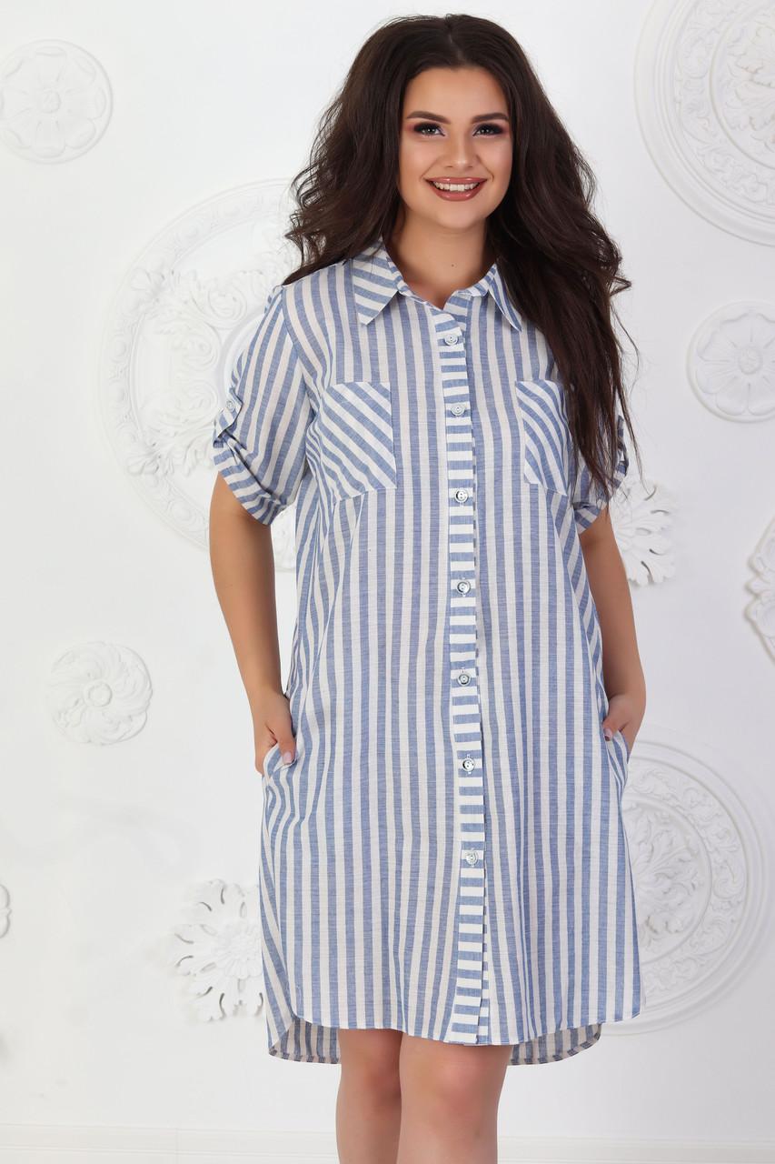 Платье летнее арт. А390 лен белое в полоску / белый / белого цвета