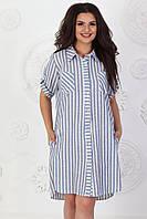 Платье летнее арт. А390 лен белое в полоску / белый / белого цвета, фото 1