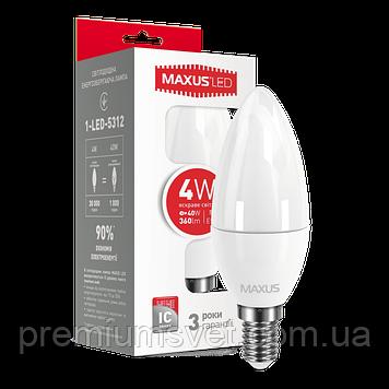 Лампочка светодиодная 1-LED-5312  LED C37  CL-F  4W 4100K 220V E14