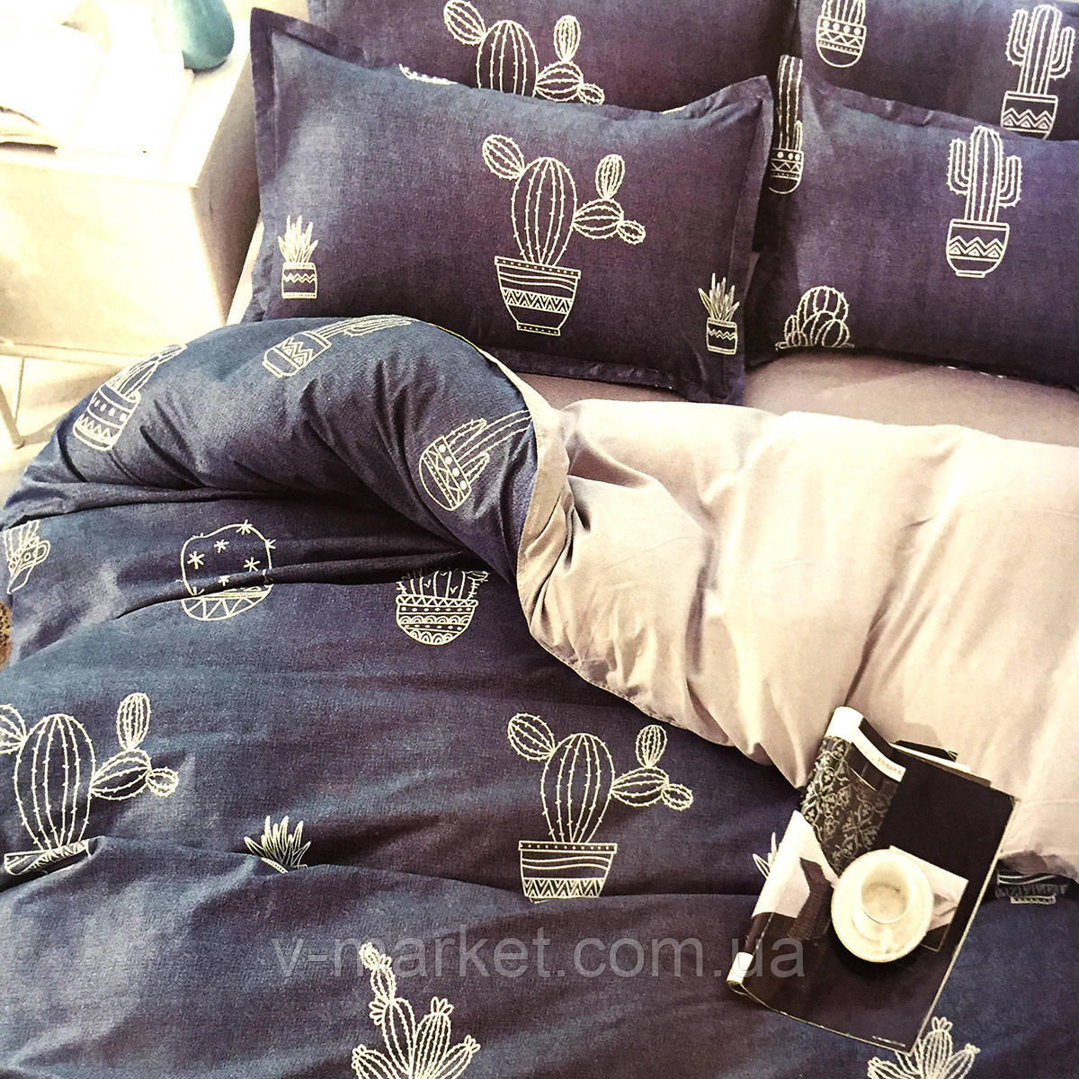 """""""Кактус"""" постельное белье 3D эффект двуспальный размер, 180/220"""
