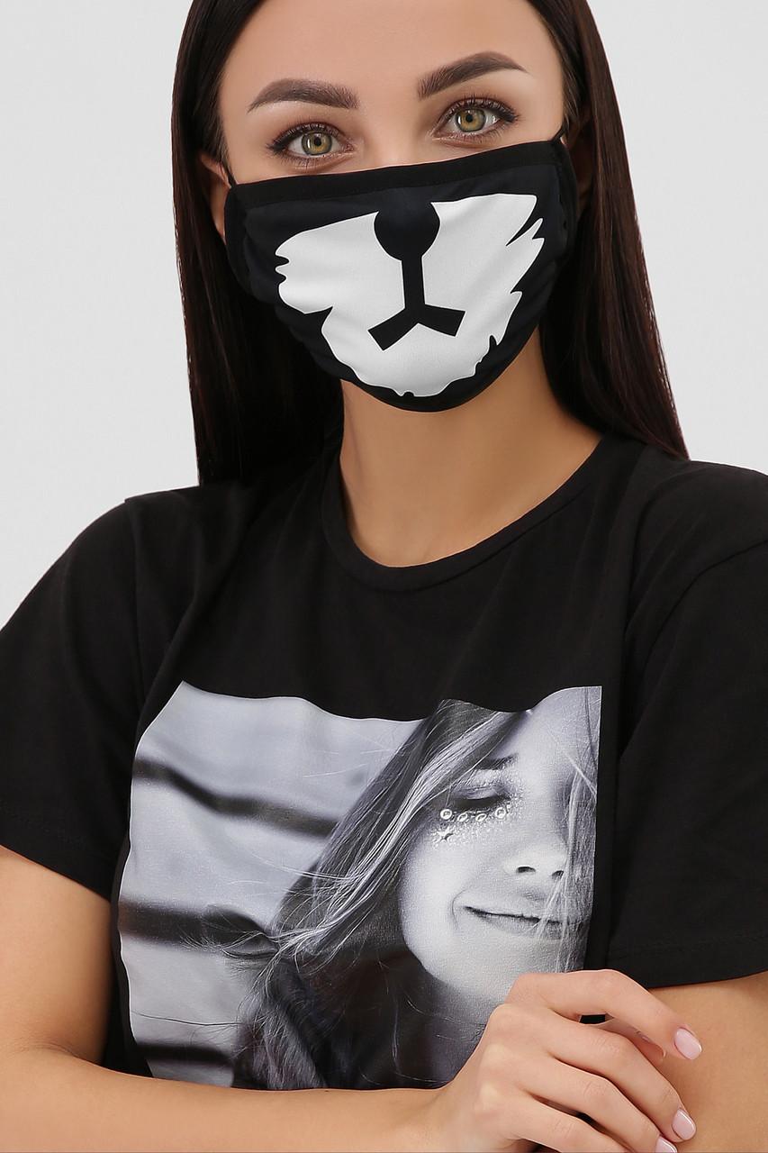 Черная защитная маска с принтом для лица