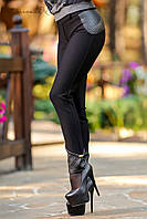 Женские лосины с кожаными вставками на весну-осень, фото 1