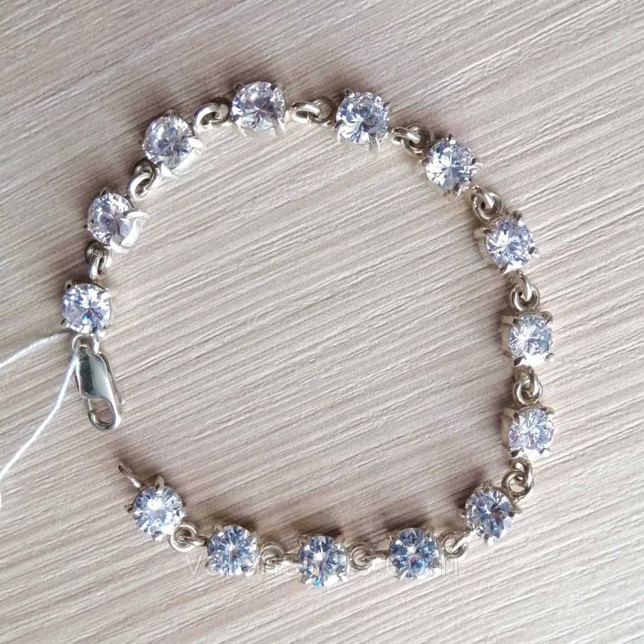 Срібний браслет з камінням