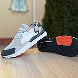 Кроссовки мужские Adidas Nite Jogger белые с тёмно серым, фото 2