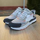 Кроссовки мужские Adidas Nite Jogger белые с тёмно серым, фото 6