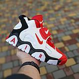 Мужские текстильные  кроссовки Nike Air Barrage белые с красным, фото 2