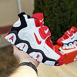 Мужские текстильные  кроссовки Nike Air Barrage белые с красным, фото 3