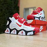 Мужские текстильные  кроссовки Nike Air Barrage белые с красным, фото 4