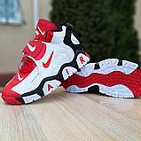 Мужские текстильные  кроссовки Nike Air Barrage белые с красным, фото 5