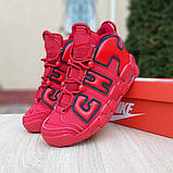Кроссовки мужские Nike Air More Uptempo кожа красные, фото 4