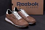 Мужские кожаные кроссовки  Reebok Classic coffe, фото 9