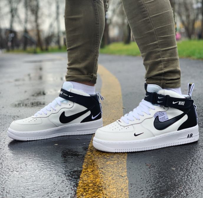 Кроссовки высокие натуральная кожа Nike Air Force Найк Аир Форс (41,42,43,44,45)