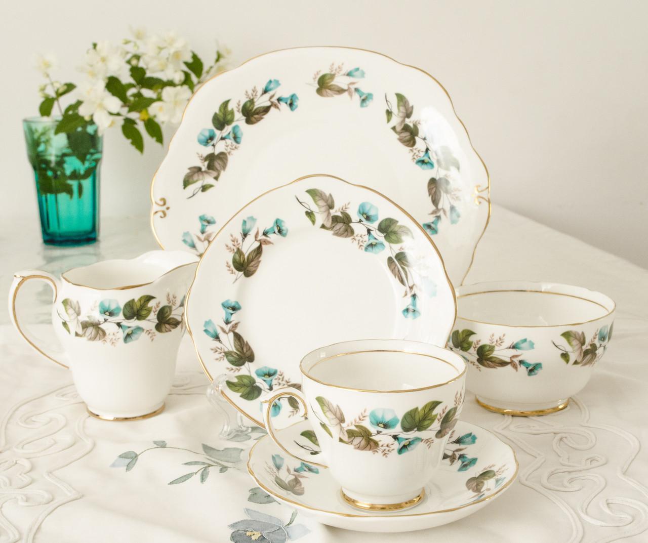 Винтажный чайный сет для одного, чайная тройка, блюдо,сахарница и молочник, фарфор, Англия, Duchess