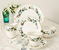 Винтажный чайный сет для одного, чайная тройка, блюдо,сахарница и молочник, фарфор, Англия, Duchess, фото 1