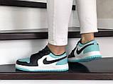 Кроссовки женские Nike Air Jordan 1 Low белые с мятой/черные, фото 2