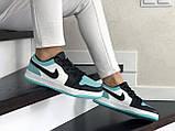 Кроссовки женские Nike Air Jordan 1 Low белые с мятой/черные, фото 4