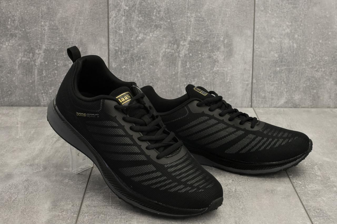 Мужские кроссовки текстильные весна/осень черные M 712 -1 (Baas Sport)