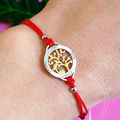 Браслет червона нитка Квітуче дерево життя срібло