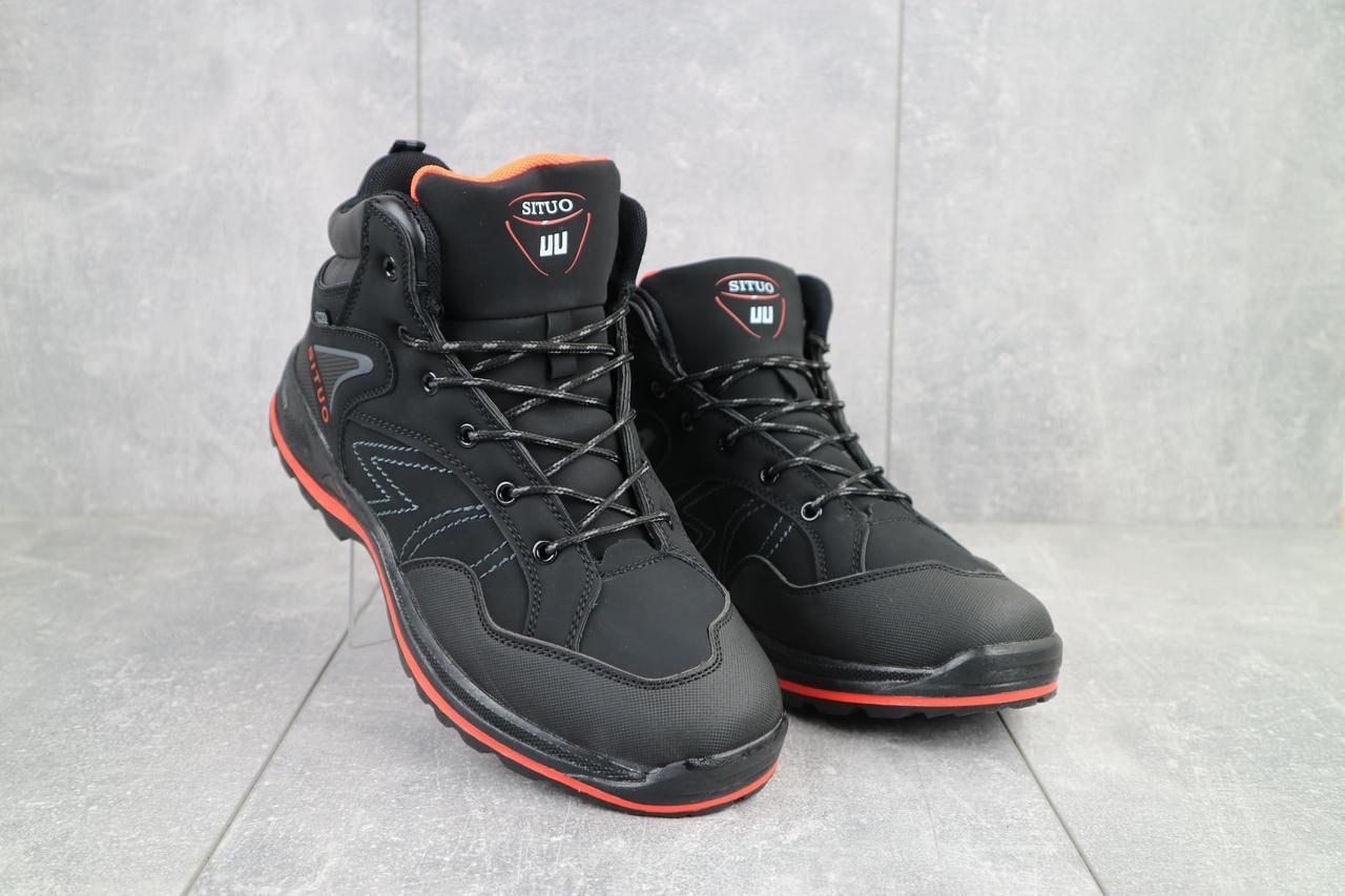 Мужские кроссовки искусственная кожа зимние черные Situo A51 -4