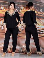 Стильний жіночий діловий костюм двійка батал: жакет+штани (р. 48-62). Арт-2214/42, фото 1