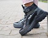 Женские кроссовки кожаные зимние черные Lions F, фото 6