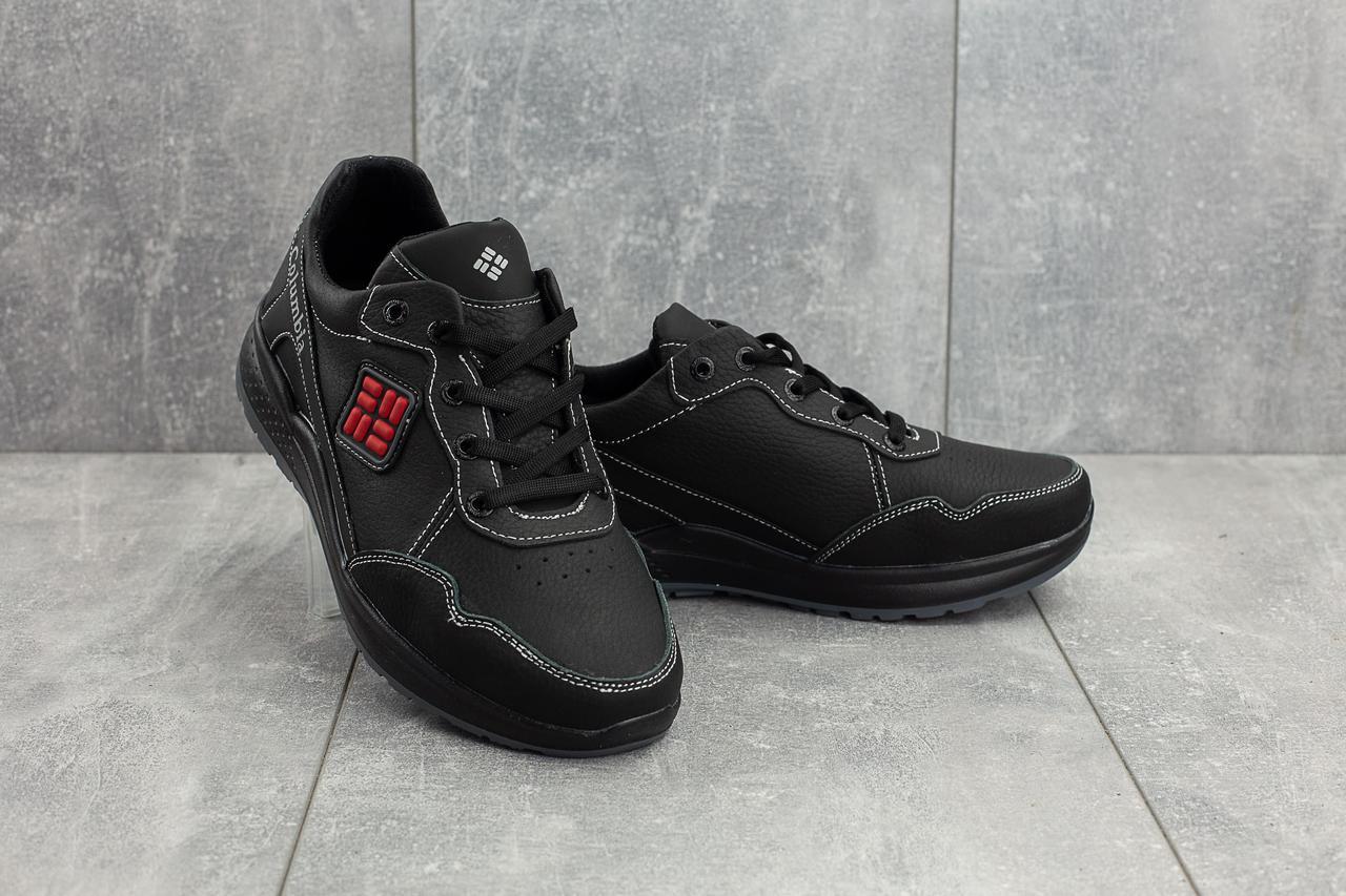 Мужские кроссовки кожаные весна/осень черные CrosSAV 08