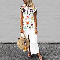 Льняное платье с вышивкой. Вышивка оригинальными цветами, яркий стиль. Размер 40-74+