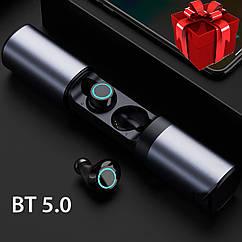 Наушники Wi-pods S2 Bluetooth 4,2 беспроводные водонепроницаемые с зарядным чехлом-кейсом. металлик