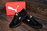 Мужские кожаные кеды Puma SUEDE Black leather ;, фото 7
