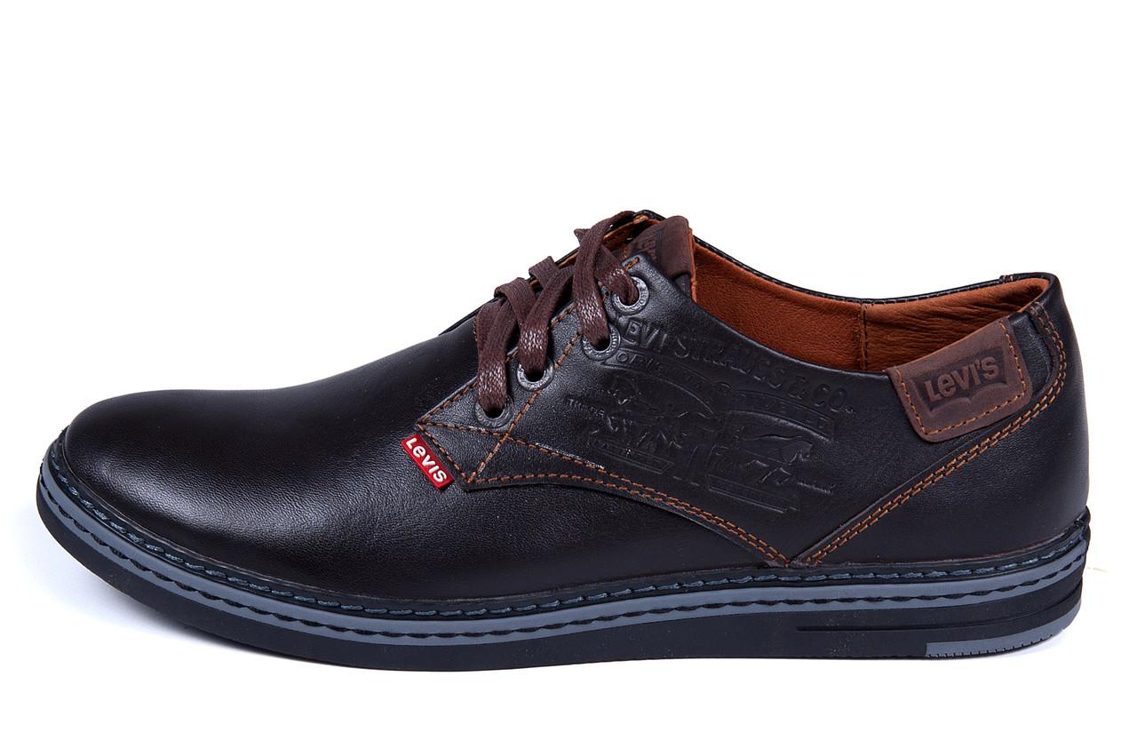 Мужские кожаные туфли  Levis Stage1 Chocolate ;