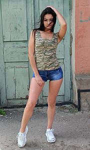 Стильная женская летняя майка в стиле милитари
