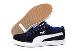 Мужские Кожаные Кеды Puma SUEDE Blue, фото 4