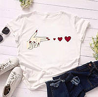Женская классическая футболка из турецкой висозы, круглый вырез горловины (42-46)