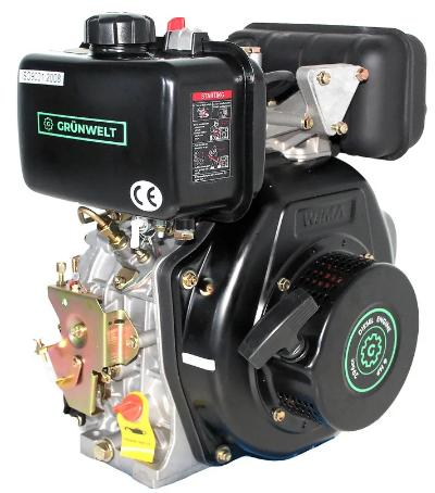 Двигатель дизель.GrunWelt GW178FE +БЕСПЛАТНАЯ ДОСТАВКА! (вал под шлицы, 6 л.с, электростартер)