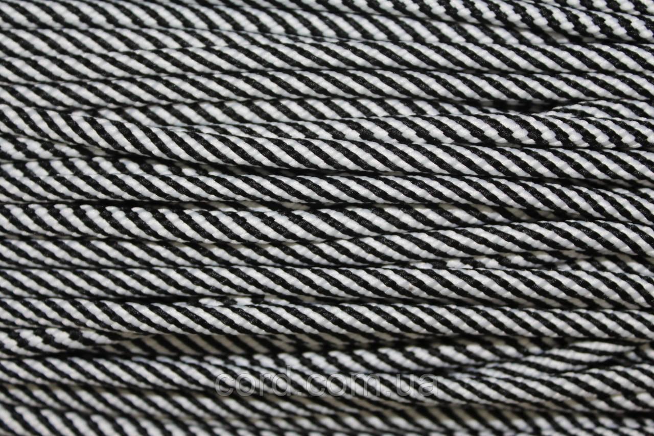 Шнур круглый 7мм 100м черный + белый