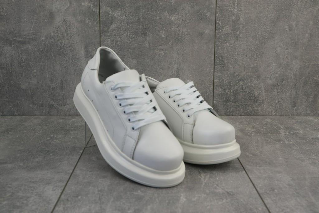 Женские кроссовки кожаные весна/осень белые 863 HELEN