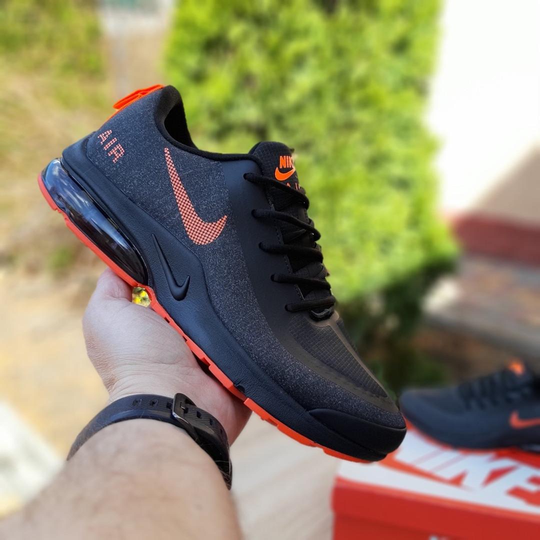 Мужские текстильные кроссовки Nike Air Presto чёрные с оранжевым