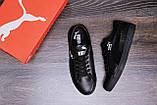 Мужские кожаные кеды Puma SUEDE Black leather, фото 6