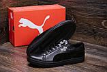 Мужские кожаные кеды Puma SUEDE Black leather, фото 7