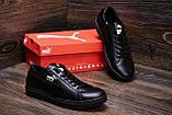 Мужские кожаные кеды Puma SUEDE Black leather, фото 8