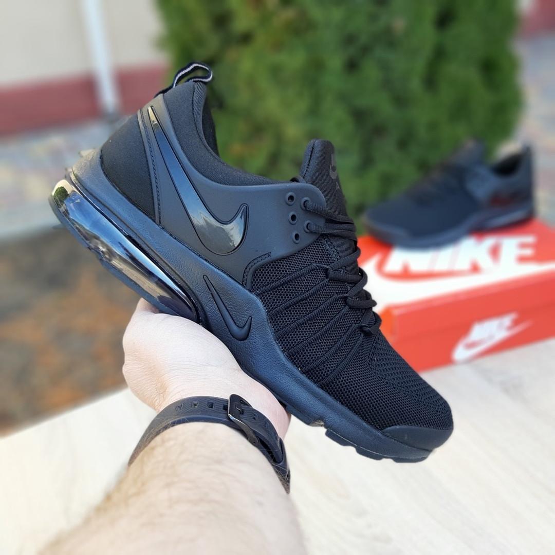 Мужские текстильные кроссовки Nike Air Presto черные на балоне