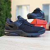 Мужские текстильные кроссовки Nike Air Presto черные на балоне, фото 4