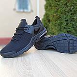 Мужские текстильные кроссовки Nike Air Presto черные на балоне, фото 7