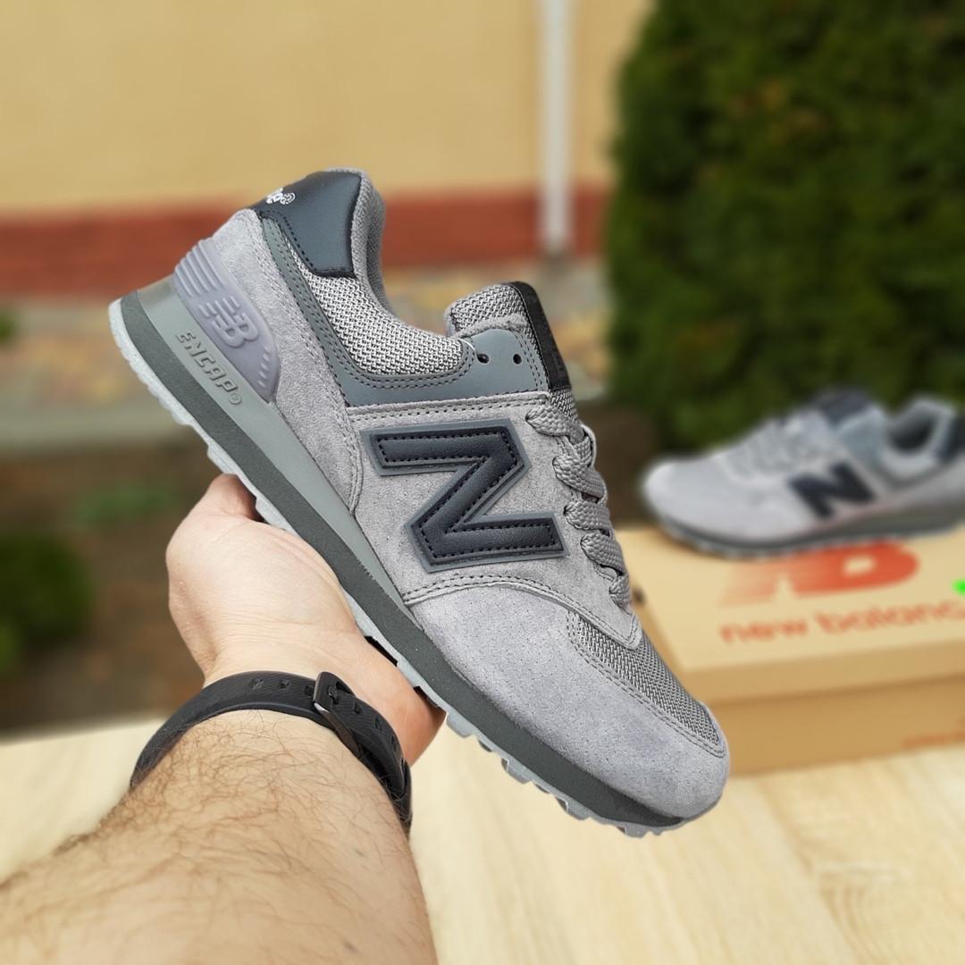 Мужские замшевые кроссовки Nеw Balance 574 серые (чёрная N)