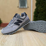 Мужские замшевые кроссовки Nеw Balance 574 серые (чёрная N), фото 2