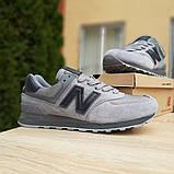 Мужские замшевые кроссовки Nеw Balance 574 серые (чёрная N), фото 3