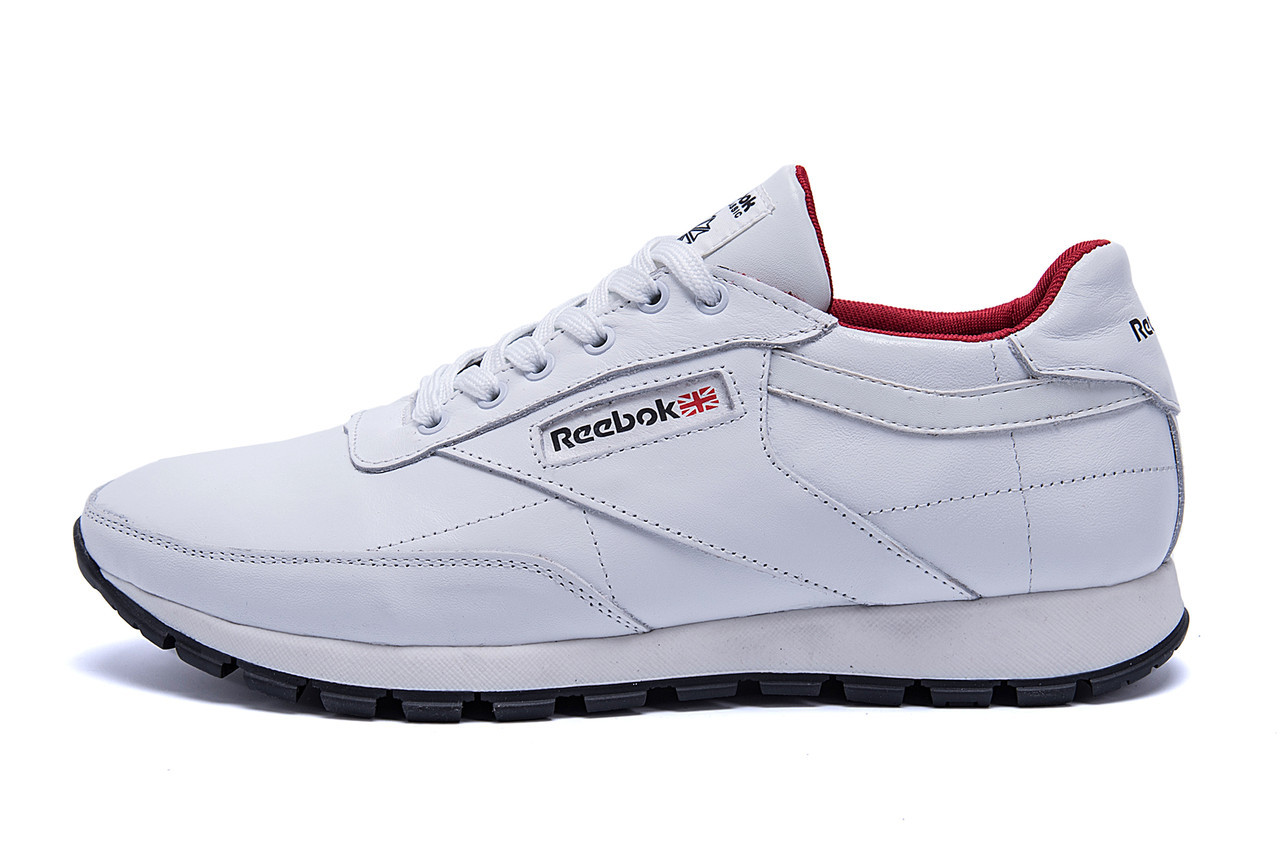 Мужские кожаные кроссовки белые  Reebok White line