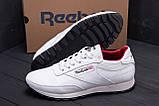 Мужские кожаные кроссовки белые  Reebok White line, фото 7