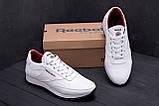 Мужские кожаные кроссовки белые  Reebok White line, фото 9