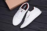 Мужские кожаные кроссовки белые  Reebok White line, фото 10